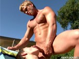 the Cute Young Hunk Tyler Sweet Gets on His Knees and Sucks James Huntsman's Big Cock, Then Lays Back on a Chair as He Gets His Horny Hungry Mouth Fucked by the Pool.