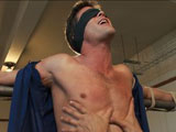 gay porn Lance Hart || Lance Hart is straight and he's a little uneasy coming on MOE. Lance has a thing for balls busting so we tied him up and give it a whack. His cock grows harder as his balls get slapped. He moans and begs to cum as we smack, stretch and squeeze his balls. Lance endures edging in all bondage positions and blows a massive load all over himself... not bad for a straight guy!