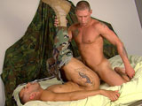 gay porn Prvt Tyler Fucks Specialist Ma || Muscled and sexy Private Tyler is sitting next to Infantry Specialist Marco today talking about the time they've spent in the Army. After a short chat, they start watching a porno together. Marco's cock is swelling beneath the camouflage fabric. So, Tyler reaches over to help him out. Unbuttoning the tight military uniform and reaching into the fly, Tyler manages to pull out a giant stiff dong within a few seconds. He bends over immediately and engulfs the huge prick in his warm, wet mouth. As he sucks on the stiffy, Tyler keeps his eyes tightly shut. But Marco can't stop staring at the hunky guy who's blowing him. He's so turned on, he can't wait for his turn to swallow Tyler's meat. He helps Tyler out of his shirt and shorts, then goes to town sucking the white thick cock to the base. Once he's got Tyler's dick nice and hard, he lays back on the bed, ready to get plowed. Tyler slides in between Marco's legs and gently slips his pink wood into the tight hole. Thrusting gently at first, Tyler picks up the pace and gradually pumps faster and faster. He slides his cock out slowly as Marco moans. Then Marco gets on all fours to get fucked doggy style. Tyler pounds away happily while Marco grunts with pleasure. When Tyler is ready to unleash his load, Marco flips on his back to accept the white gift; allowing it to coat the side of his face and neck. Still covered in cum, Marco continues jacking his own meat, ending with several thick streams of jism spraying over his rippled abs and chest.