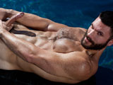 Bearded beauty Bob Hager jerks off in a pool on a sunny day