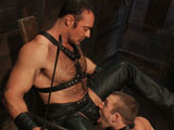 gay porn Brad Kalvo And Cody Al || In order to welcome new Dom Brad Kalvo, house slave Cody Allen is sent to greet him. Brad is skeptical of the boy's worth but indulges him by going to the bondage wall and choosing the day's implements. Back in the dungeon Cody shows Brad why they call it the cocksucking chair and Brad helps himself to the 20 year-old's ass. Suspended on the wooden wedge Cody is strained by the pressure on his taint. Brad takes the taser to Cody as he holds the bowling ball tied to his own zipper. With each zap his grip loosens. Back in the cocksucking chair Cody rides the master's dick. Brad then turns him around, fucks his ass, and blows his load all over the boy's face.