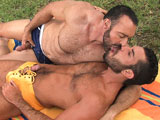 Bearded men Damien Stone & Brad Kalvo blow eachother outside