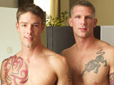 gay porn Jake Tops Sebastian || In Active Duty's last update with Jake, where we found out he had just gotten out of the Marine Corps, they hinted that we were going to see more of Jake around these parts. They weren't lying. Last week, he tangled with lil' pretty boy Sawyer and this time, they chiseled stud paired up with a guy his own size: Sebastian. They take a shower together, 69 on the bed, and then Jake tops Sebastian with his big tool in three positions!