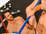 gay porn Dirk Caber Tops Dean M || Dirk ties Dean's legs to a bar and fucks his spread ass