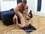 gay porn Jake And Jimmy || Jake Genesis and Jimmy Roman Look Amazing In Their Jocks as They Make Out Wildly. Jimmy Kisses Jake's Neck as Jake Surveys Jimmy's Hot Young Ass. Jimmy Licks Jake's Armpits, Chest and Abs. Jimmy's Tongue Moves Down to Jake's Cock, Which Is Poking Out of His Jock Ready to Have Jimmy's Lips Wrapped Around It. Jimmy Takes Jake's Cock and Deep Throats It. Jake Then Gets Jimmy on His Back and Gets His Mouth on Jimmy's Hot Uncut Cock; Teasing the Foreskin Back and Forth. Jake Then Throws Jimmy's Legs Back and Digs His Tongue Into His Tight Hole. He Kisses Jimmy's Feet and Suck His Toes. Jake Slips His Finger Up Jimmy Roman's Ass Before He Gets Him on All Fours and Shoves His Thick Cock Up His Young Ass. Jake Genesis Sits on the Edge of the Bed and Fucks Jimmy In the Cowboy Position, He Then Leans Jimmy Down and Pile Drives His Cock Into Jimmy's Ass. They Move Back to the Bed Where Jimmy Continues to Ride Jake's Hard Cock. Jimmy Then Gets on His Back and Jake Pounds Him Until Jimmy Pops His Load All Over His Chest and Abs. Jake Sucks Jimmy's Cum Covered Dick and Licks Up All of His Cum; He Drops the Cum Into Jimmy's Mouth and They Make Out. Jake Genesis Then Shoots His Load All Over Jimmy's Dick and Pubes. He, Again, Licks Up the Cum and Drops It Into Jimmy Roman's Mouth.