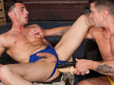 gay porn Tristan Phoenix And Trenton Du || Tristan Phonix gets double penetrated by two giant dildos
