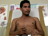 gay porn Damian Cruz || I walked into the examination room and wait patiently for the doctor to come in. I couldn't wait to get home and I definitely need to blow my load. The doctor poked his head into the room and told me to just sit tight for another 15- 20 minutes. I sighed and was sexually frustrated beyond belief. So I sat back on the exam table and let my hands do the walking down toward my crotch. I figured since I had the time I would just get the job done and blow my load while I was waiting. I stepped of the table and got undressed then hopped on back onto the table and began to stroke my hardening meat. It definitely felt good to be working on my knob but something was missing and that something was lube. Oddly enough I managed to spot some on the doctors table and gotback to work again on my dick. The more I stroked the closer I could feel myself about to bust my load. I felt my cock swell and then shot a blast of cum all over my stomach. It was pure relief. I hopped off the exam table and got to cleaning up before my doctor was non the wiser. What a sweet relief to unload, I just sat back as I heard footsteps coming toward the door.