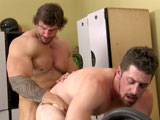 Andrew Stark is way into checking out Zeb Atlas at the gym whether he's working out or taking a shower! With a body and dick that you need to see to believe, Andrew gets busted taking a snapshot and has to pay the price by servicing Zeb with his hot mouth and even hotter hole.