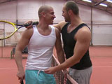 A little tennis anybody. Tomm and Max meet up for a tennis match and get to the sweating. Watching each other sweat was tempting enough. They said, &quot; fuck tennis. &quot; Let's fuck! That's right. They fuck on the tennis courts right in from of everybody. Them shy. Not!