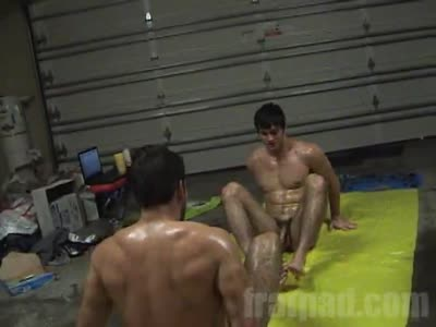 Oiled Up Slide - Gay Frat boy
