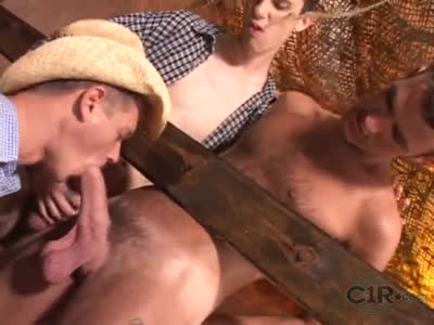 Cowboy Sucks Two Big C - Gay Orgy
