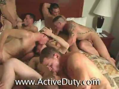 Six Man Fuckfest - Gay Military Sex